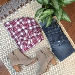 Raspberry Rose Plaid Button Down/ Flannel
